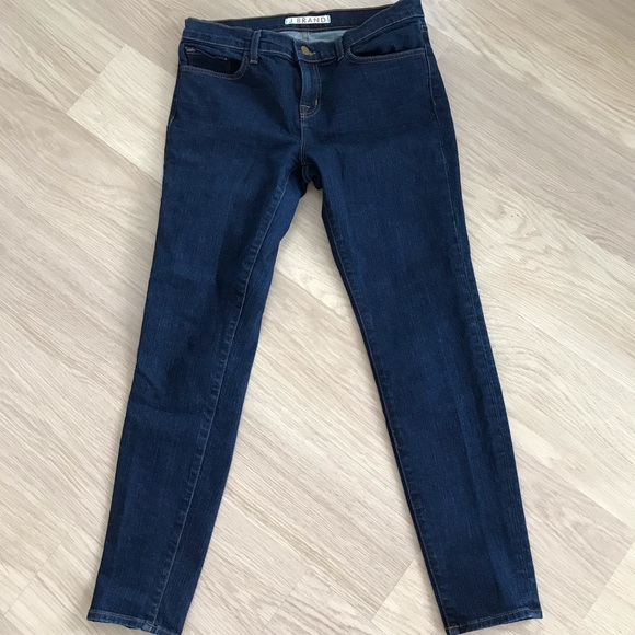 J Brand mid-rise skinny blue jeans